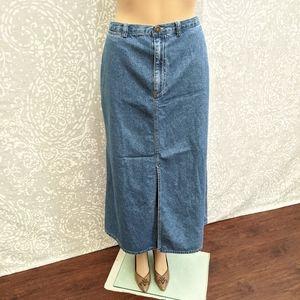Vintage Denim Maxi Skirt with Front Slit